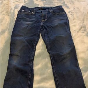 7 for all mankind mid rise ankle skinny raw hem